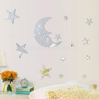 Moon And Star Shaped Acrylic Mirror Wall Sticker Reach ROHS Certificated