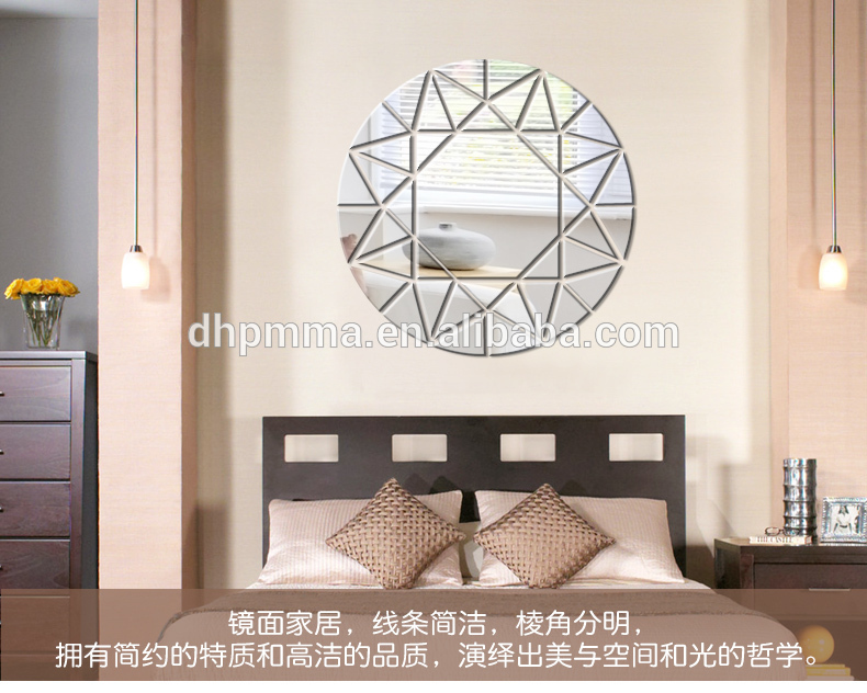 Modern Style Round Reflective Acrylic Mirror Wall Sticker with Slef Adhesive for Decoration