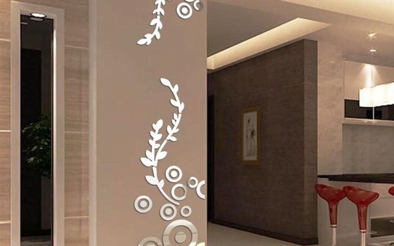3D Flower Rattan Wall Stickers Home Decoration Acrylic Mirror wall Sticker sheet