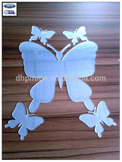 Decorative Mirror Wall Sticker Butterfly Shape Adhesive Acrylic Mirror