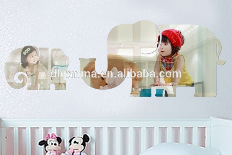 Elephant Shaped Acrylic Mirror Wall Decal