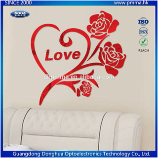 Rose Shape 3D Acrylic Mirror Wall Sticker